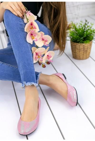 Pirmoda Aryana Pudra Cilt Simli Babet Ayakkabı