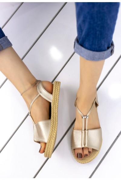 Pirmoda Emily Bej Cilt Sandalet