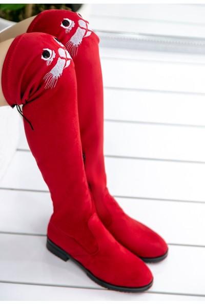 Pirmoda Geomar Kırmızı Süet Çorap Çizme
