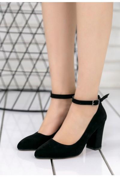 Pirmoda Greta Siyah Süet Topuklu Ayakkabı