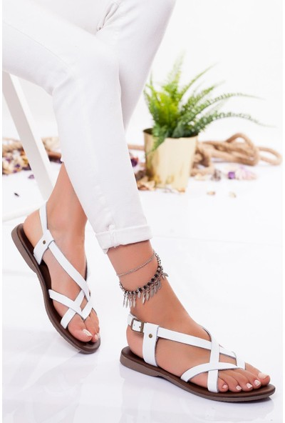 Ayakkabı Frekansı Kadın Amara Deri Sandalet Beyaz