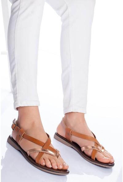 Ayakkabı Frekansı Kadın Amara Deri Sandalet Taba