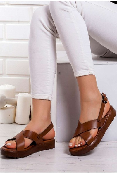 Ayakkabı Frekansı Kadın Cara Deri Sandalet Taba
