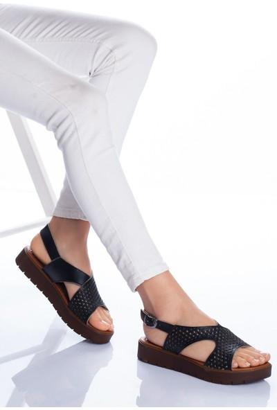 Ayakkabı Frekansı Kadın Haley Deri Sandalet Siyah