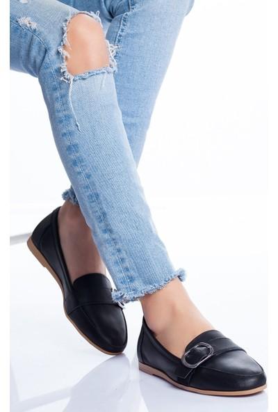 Ayakkabı Frekansı Kadın Kaley Deri Babet Siyah
