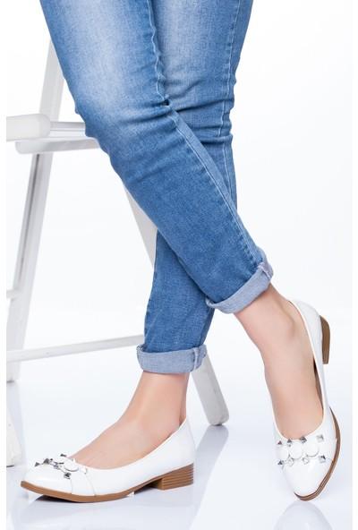 Ayakkabı Frekansı Kadın Lucy Babet Ayakkabı Beyaz Rugan