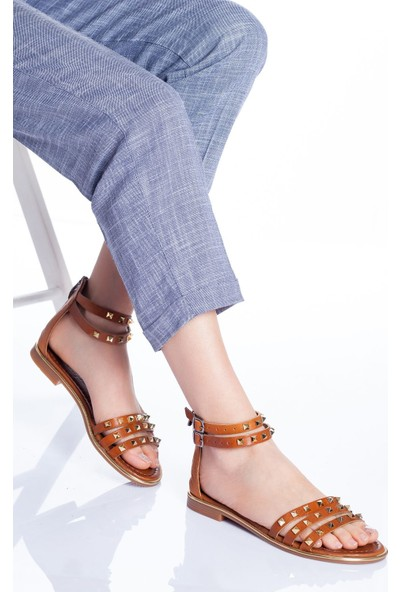 Ayakkabı Frekansı Kadın Orina Deri Sandalet Taba