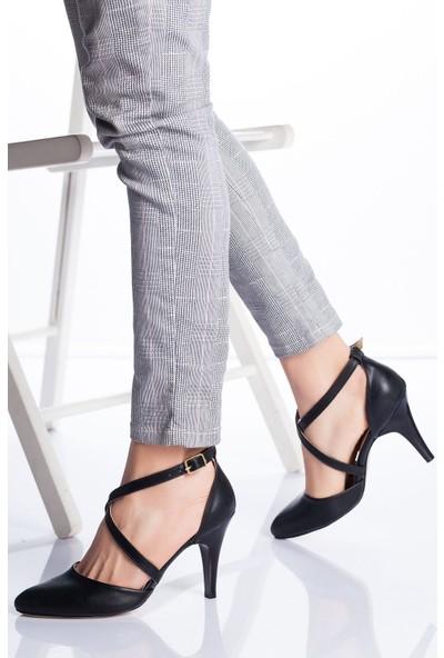 Ayakkabı Frekansı Kadın Gabel Topuklu Ayakkabı Siyah Cilt