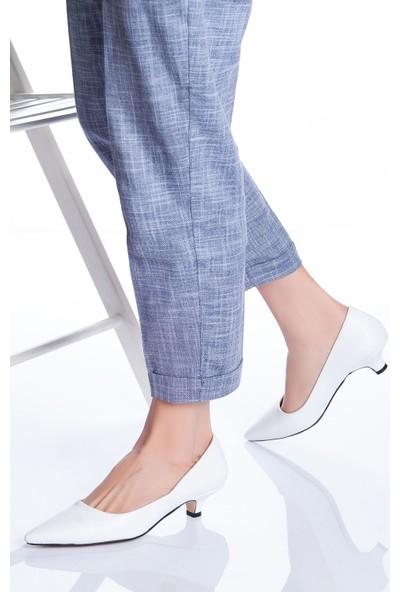 Ayakkabı Frekansı Kadın Odella Topuklu Ayakkabı Beyaz Cilt
