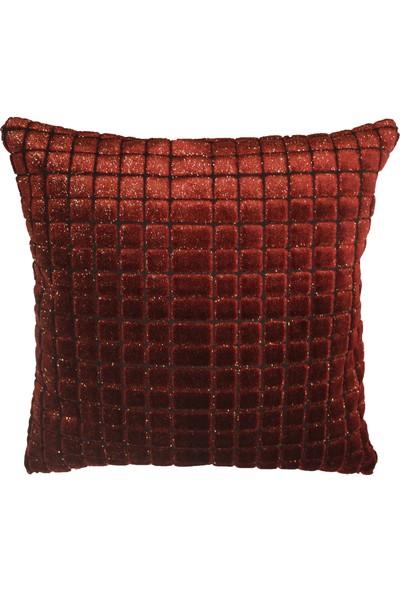Mut Design Kırmızı Kare Yıldız Desenli Kırlent Yastık