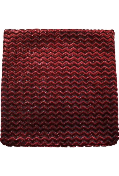 Mut Design Kırmızı Yaldızlı Zikzak Desen Kırlent Yastık