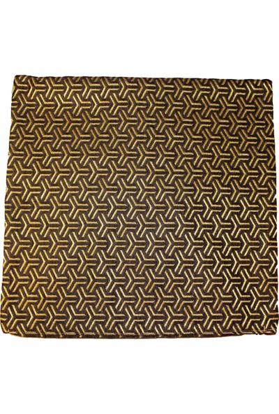 Mut Design Sarı ve Kahverengi Desenli Keten Kırlent Yastık