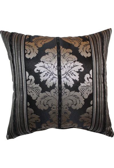 Mut Design Gümüş Yaldızlı Siyah Çiçek Desenli Kırlent Yastık