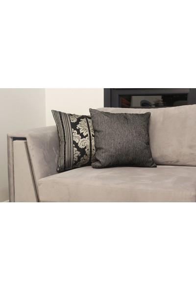Mut Design Gümüş Yaldızlı Siyah Çiçek Desenli Kendinden Fitilli Kırlent Yastık