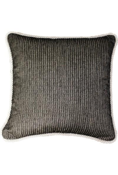 Mut Design Siyah İplikli Gümüş Yaldızlı Benek Desenli Gümüş Fitilli Kırlent Yastık