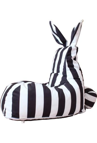 Minderium Çizgili Tavşan Siyah Beyaz Puf