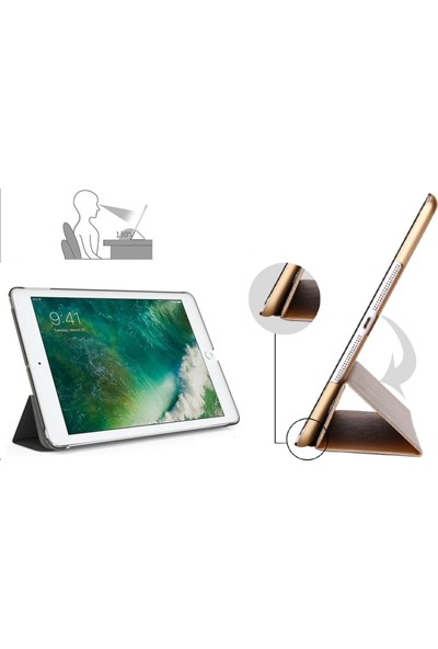 "Essleena Apple Kılıf Seti iPad 7.Nesil (2019) 10.2"" Smart Kılıf+Kalem+9H Cam+Şarj Kablosu+Sport Bluetooth Kulaklık(A2197/A2200/A2198) - Turkuaz"