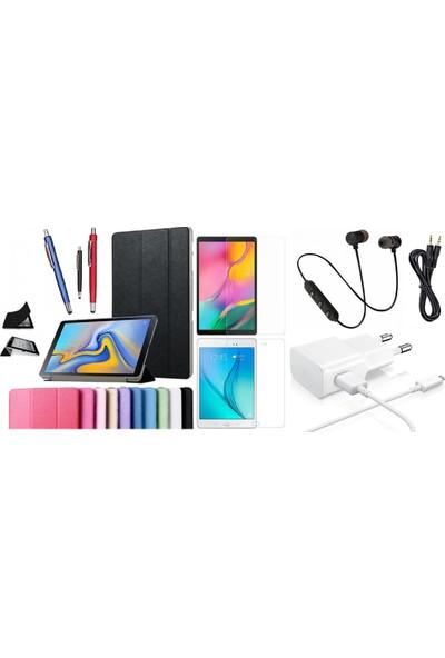 "Essleena Samsung Kılıf Seti Galaxy Tab S3 9.7"" Sm-T820/T825/T827/829 Smart Kılıf+Kalem+9H Cam+Şarj Seti+Sport Bluetooth Kulaklık+AUX - Kırmızı"