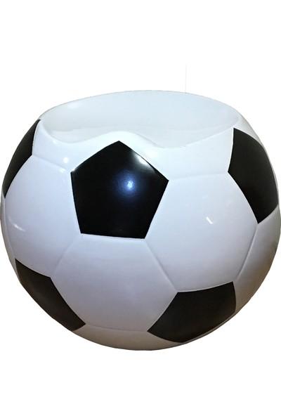 MiniGolf35 Futbol Topu Dekorlu Tabure Siyah Beyaz