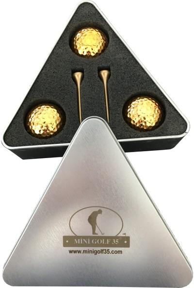 MiniGolf35 Gold Renk Golf Topu - Üçgen Kutulu