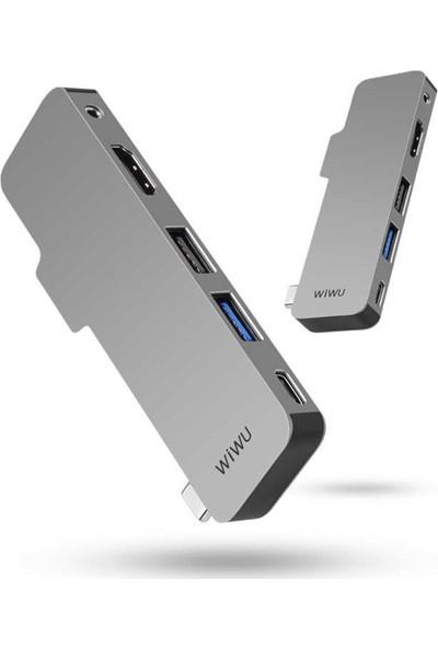 Wiwu USB C HUB T5 Type-C 5in1 Çoklayıcı Hub Gri