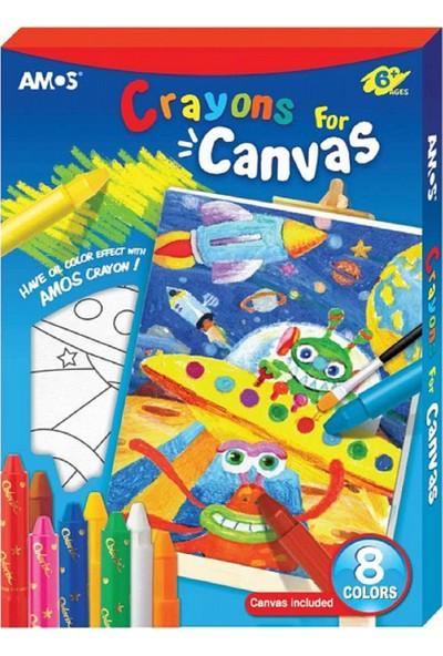 Amos Crayon For Canvas Tuval ve Colorix Seti 8 Renk + Uzay Tuval