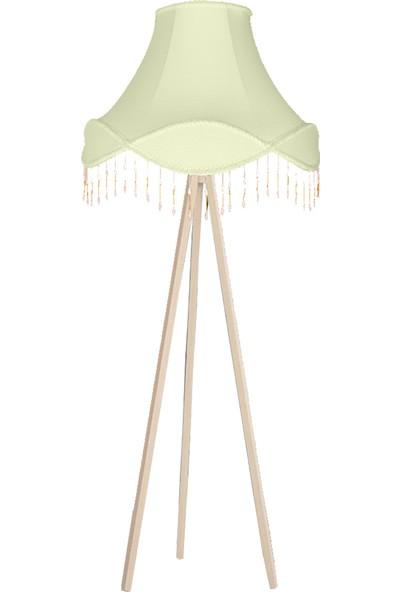 Sağlam De Lampe Ahşap Üç Ayaklı Püsküllü Lambader Açık Yeşil