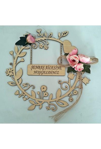 Syz Ahşap Çiçek Desenli Gül Süslemeli Kapı Süsü