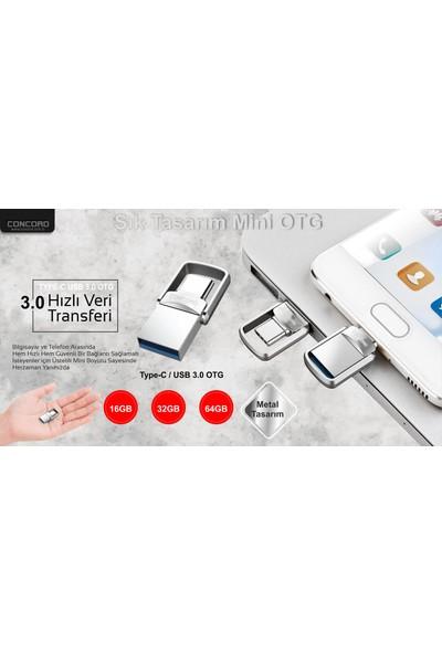 Concord 16gb 3,0 TYPE-C Mini Metal Otg Usb Flash Bellek C-OTGT16