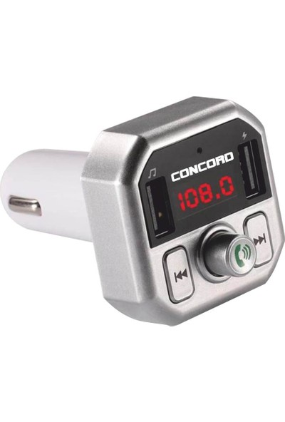 Concord C-609 Bluetooth Araç Kiti Fm Transmitter 3.1A Hızlı Şarjlı - Gri
