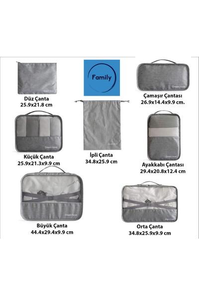 Family Co 7 Parça Çok Fonksiyonlu Valiz Dolap Çekmece Bagaj Düzenleyici - Gri