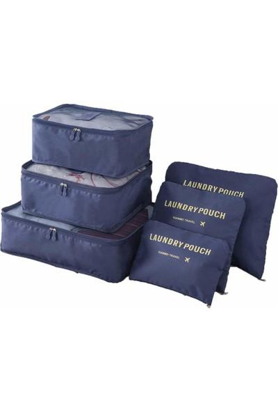 Family Co 6 Parça Çok Fonksiyonlu Valiz Dolap Çekmece Bagaj Düzenleyici - Lacivert