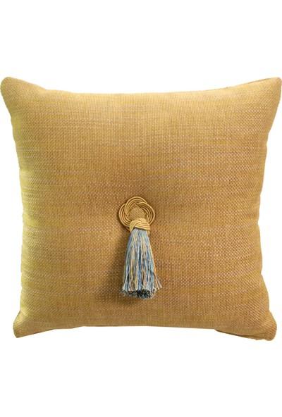 Mut Design Lacivert Altın Yaldızlı Çiçek Desenli Kendinden Fitilli Kırlent Yastık