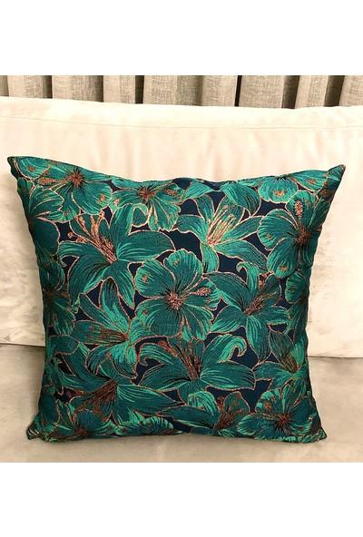 Mut Design Yeşil Yaldızlı Çiçek Desenli Kırlent Yastık