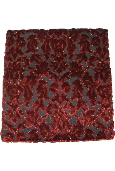 Mut Design Kırmızı Yaldızlı Çiçek Desenli Kırlent Yastık
