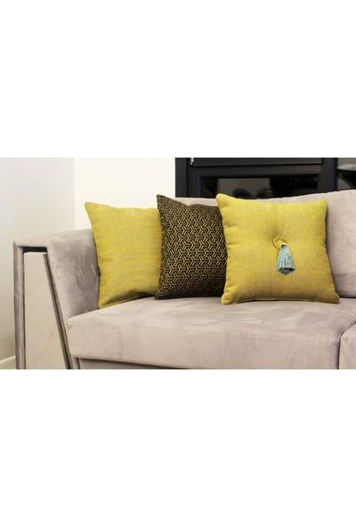 Mut Design Sarı Keten Kırlent Yastık