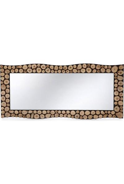 Dfn Wood Doğal Ahşap Dalgalı Dekoratif Duvar Salon Boy Aynası