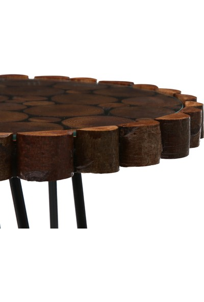 Dfn Wood Doğal Ahşap Dekoratif Metal Ayaklı Yan Sehpa