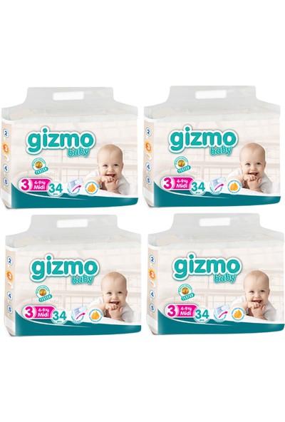 Gizmo Paket Bebek Bezi 4-9 kg 3 No 136'lı 34 x 4