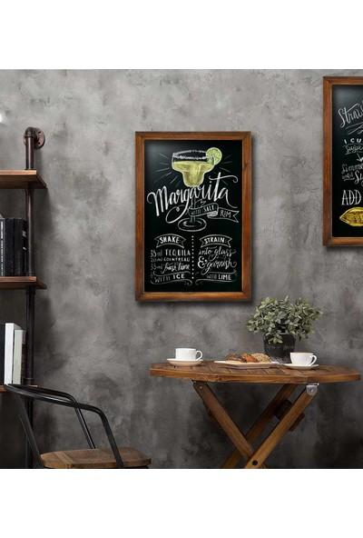 Zephome Dekoratif Yazı Tahtası Retro Kara Tahta 50 x 80 cm Ceviz