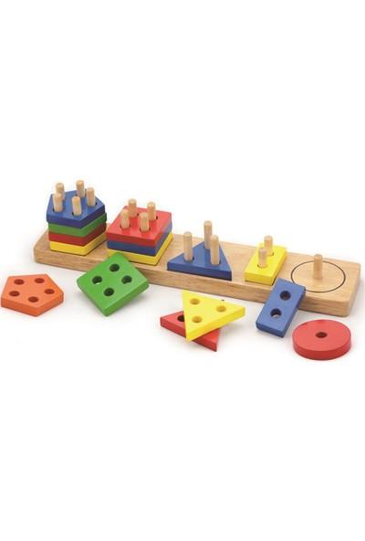 Mukabo Geo Bul Tak Diz Ahşap Eğitici Oyuncak Set
