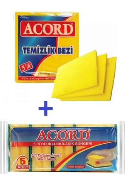 Acord 2'li Temizlik Seti - Acord 3 'lü Sarı Temizlik Bezi - Acord 5 'li Bulaşık Süngeri