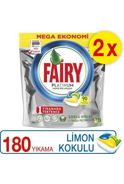 Fairy Platinum Bulaşık Makinesi Deterjanı Kapsülü Limon Kokulu 180 Yıkama (90x2)