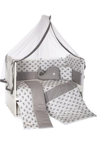 Heyner 60 x 120 cm Bebek Uyku Seti Takımı 9 Parça - Gri Balina