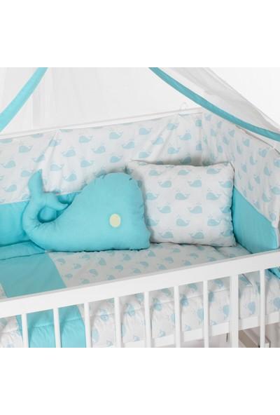 Heyner 60 x 120 cm Bebek Uyku Seti Takımı 9 Parça - Mavi Balina