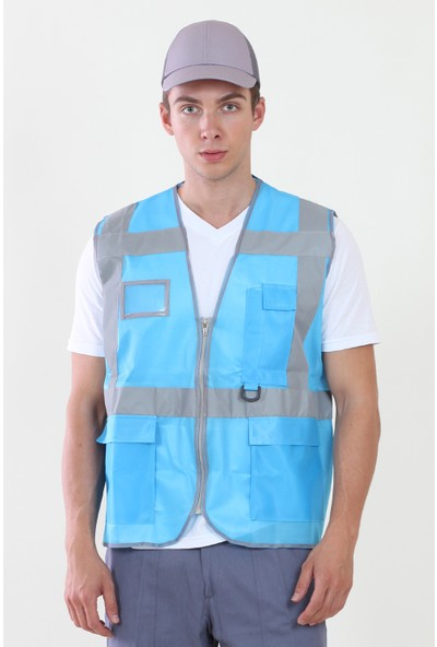 Moda Canel Mühendis Yelek Turkuaz Mavi XL