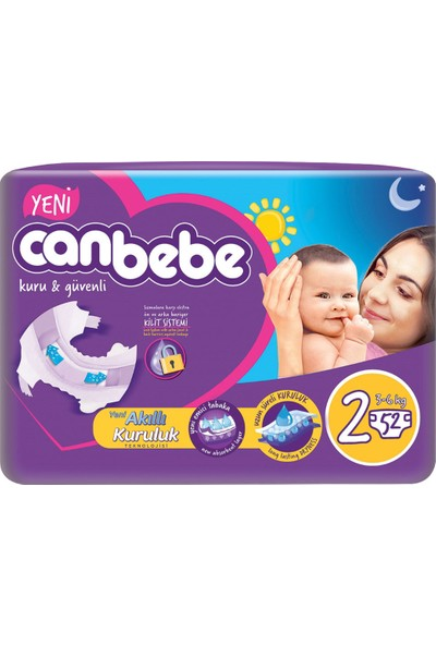 Canbebe Jumbo Mini Bebek Bezi 52'li 2 Beden