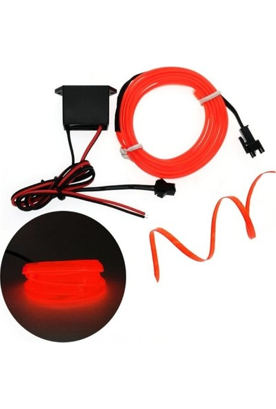 Oto Aksesuarcım Kırmızı-Oranj Fitilli İp Neon Led Torpido Şeridi 2 m
