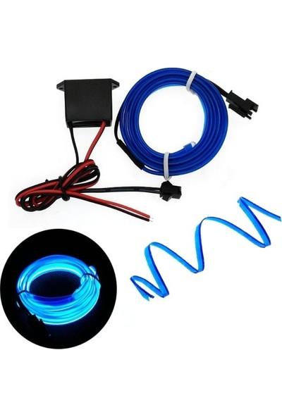 Oto Aksesuarcım Mavi Fitilli İp Neon Led Torpido Şeridi 5 m