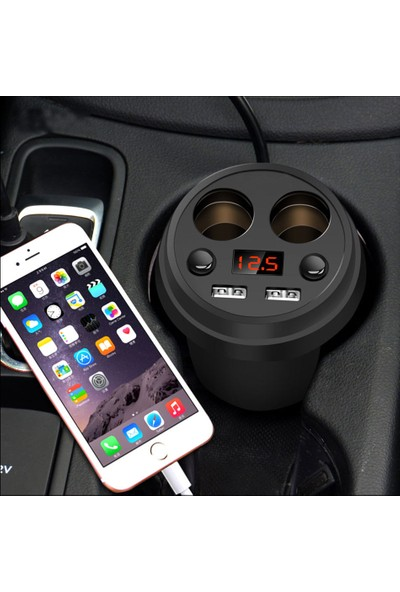 Sge Araç İçi Çakmaklık ve USB Çoklayıcı Çoğaltıcı Telefon ve Tablet Şarj Bardaklık
